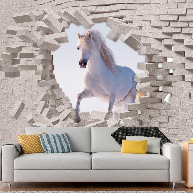 Adesivo de Parede Foto Mural Cavalo 3D F221