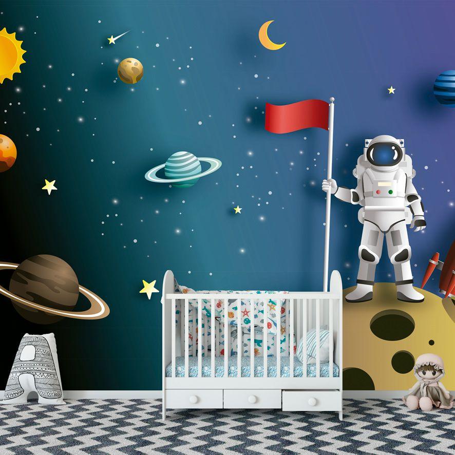 Adesivo de Parede 3D Espaço Astronauta Painel Fotográfico F296