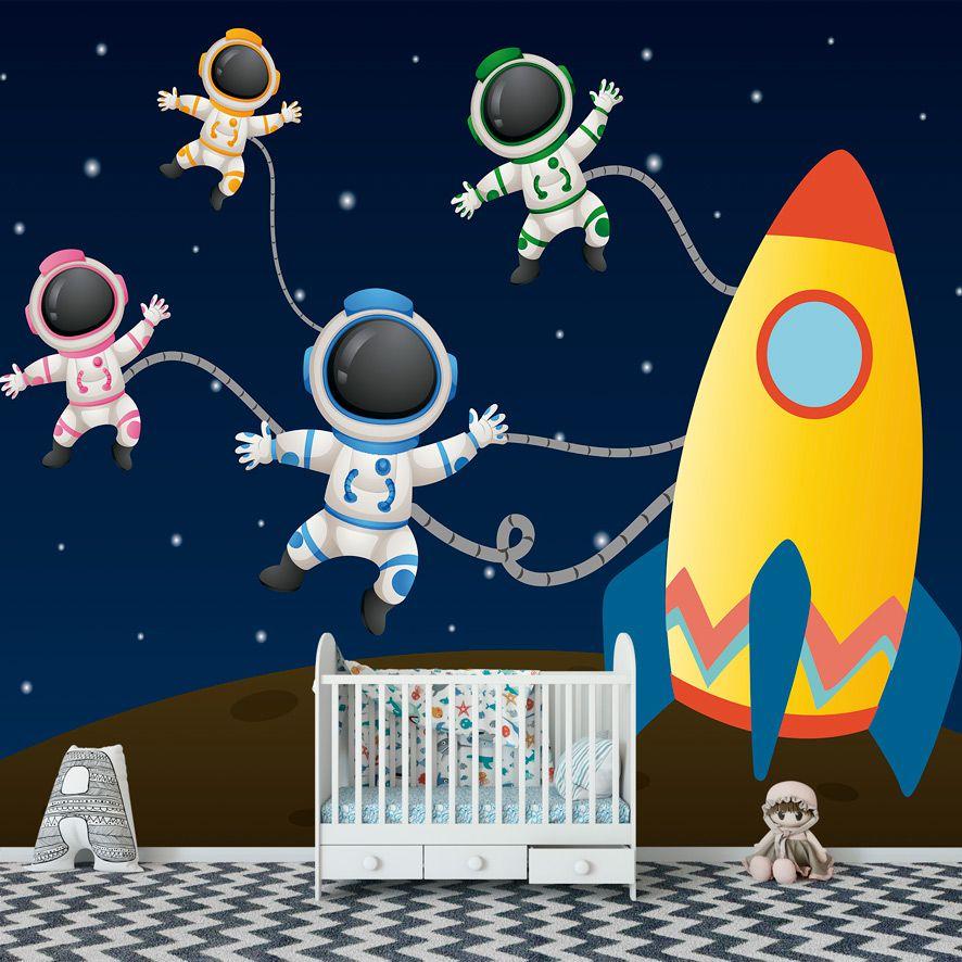 Adesivo de Parede 3D Foguete Astronauta Painel Fotográfico F276