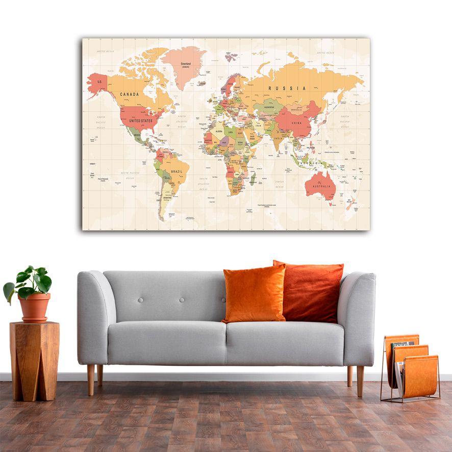 Adesivo de Parede 3D Mapa Painel Fotográfico F277