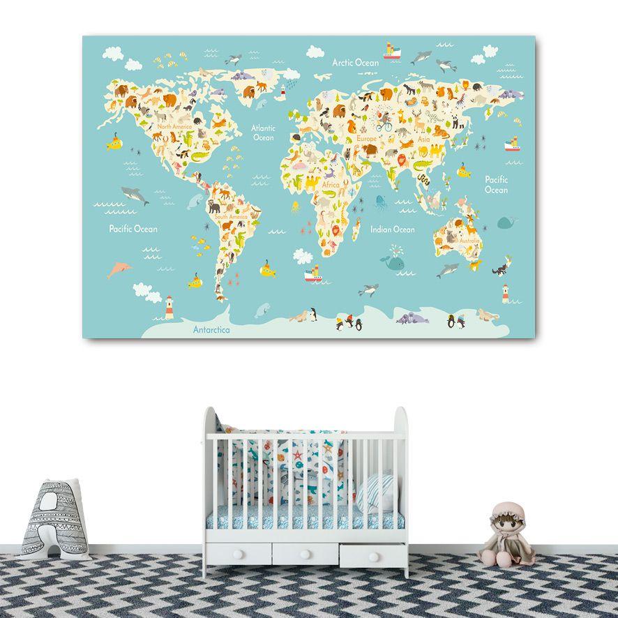 Adesivo de Parede 3D Mapa Kids Painel Fotográfico F271
