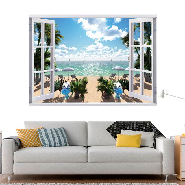 Adesivo de Parede 3D Paisagem Mar Praia Painel Fotográfico F215