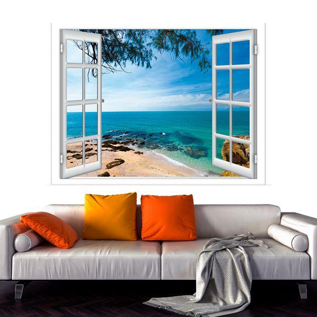 Adesivo de Parede 3D Paisagem Mar Praia Painel Fotográfico F216