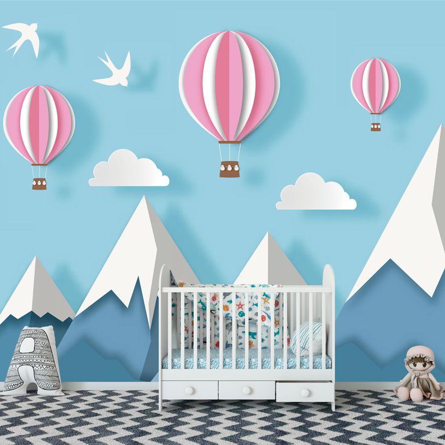 Adesivo de Parede Foto Mural Montanha Balão F290