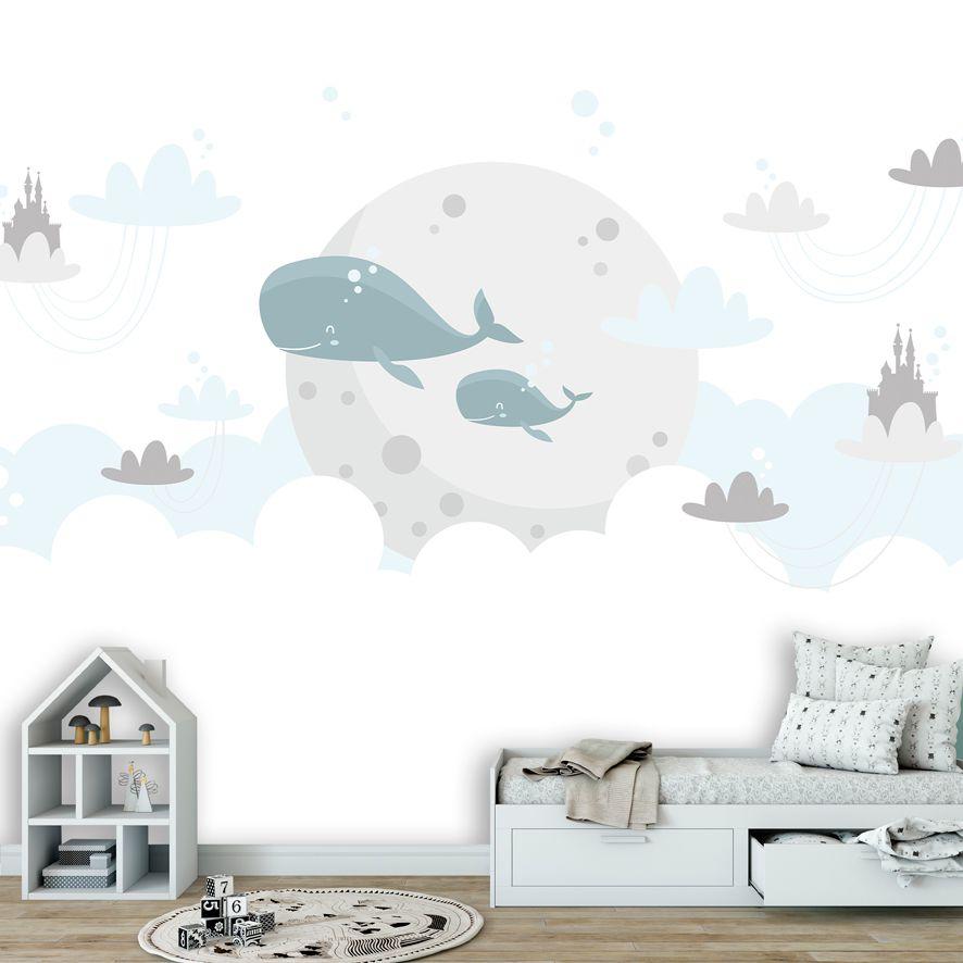 Adesivo de Parede 3D Nuvem Baleia Painel Fotográfico F286