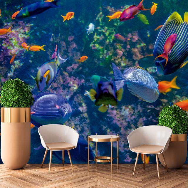 Adesivo de Parede Foto Mural Peixes 3D F238