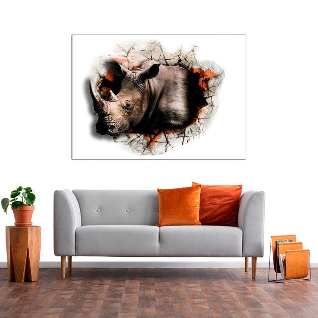 Adesivo de Parede 3D Rinoceronte Aspecto  Painel Fotográfico F189