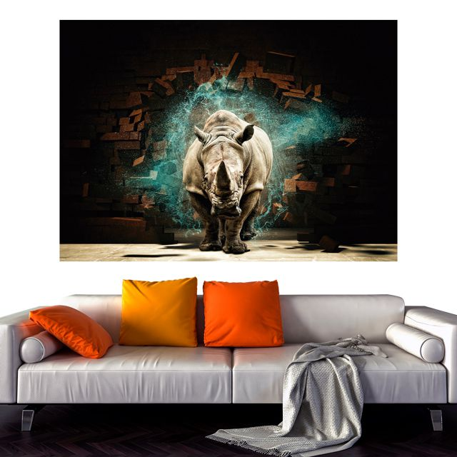 Adesivo de Parede Foto Mural Rinoceronte Aspecto 3D F218