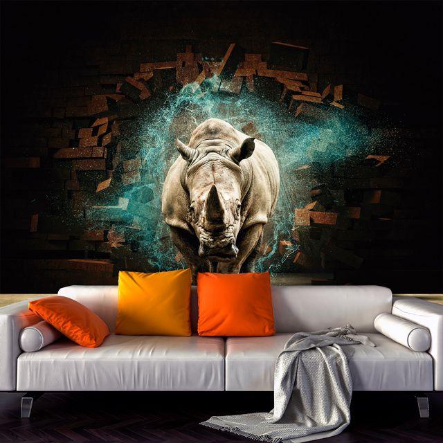 Adesivo de Parede 3D Rinoceronte Aspecto  Painel Fotográfico F218