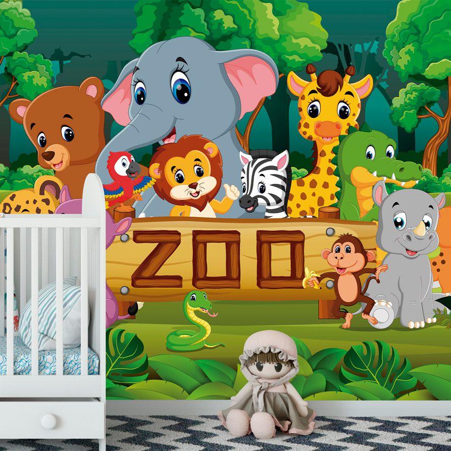 Adesivo de Parede 3D Safári Zoo Painel Fotográfico F262