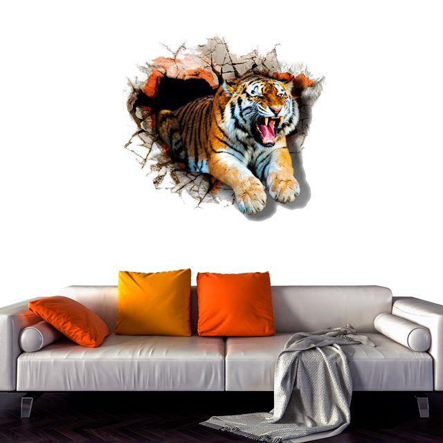 Adesivo de Parede 3D Tigre Aspecto  Painel Fotográfico F192