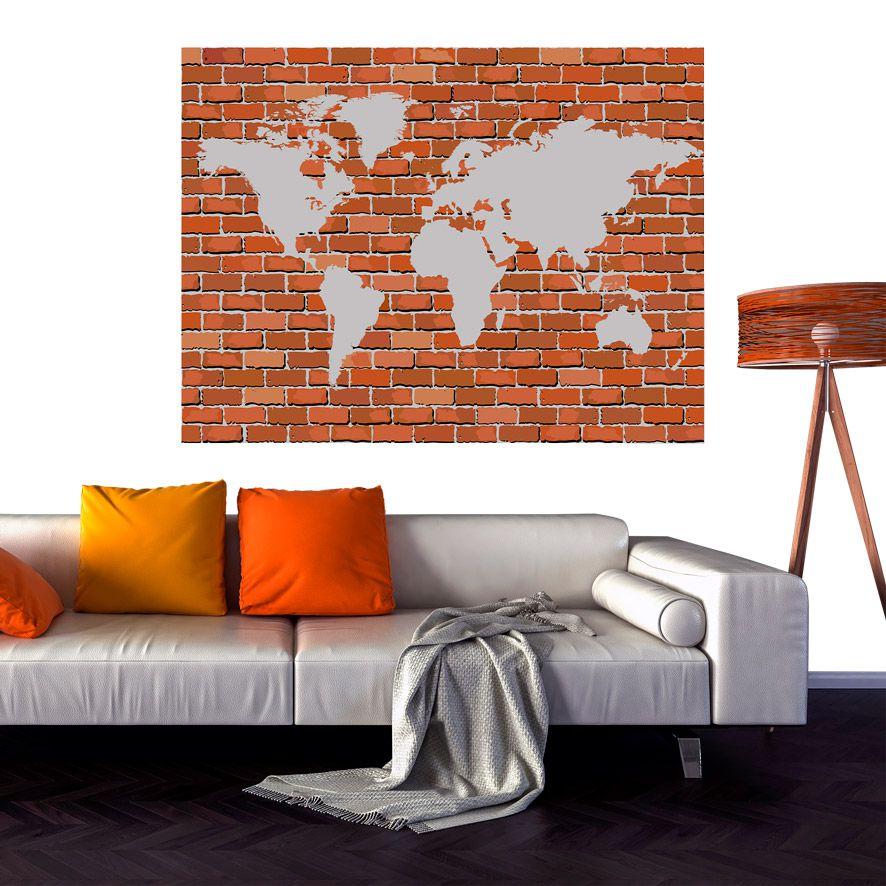 Adesivo de Parede 3D Tijolo Mapa Painel Fotográfico F295