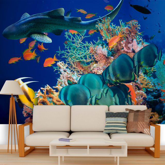 Adesivo de Parede Foto Mural Tubarão 3D F239