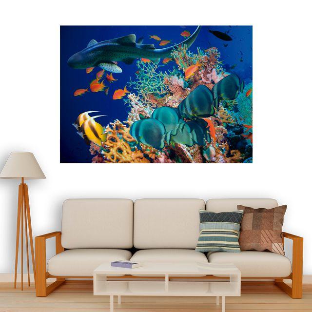 Adesivo de Parede 3D Tubarão  Painel Fotográfico F239