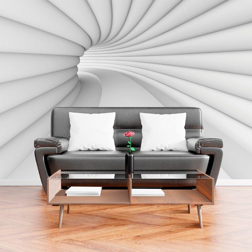 Adesivo de Parede Foto Mural Tunel 3D Cinza F227