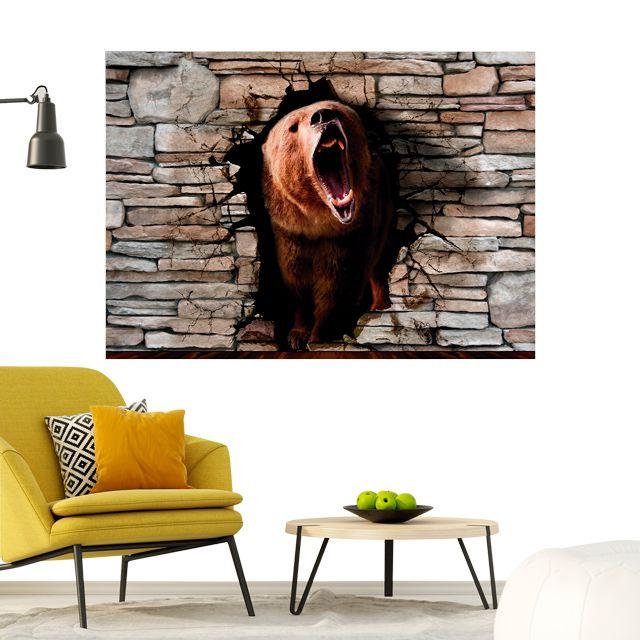Adesivo de Parede Foto Mural Urso Aspecto 3D F193