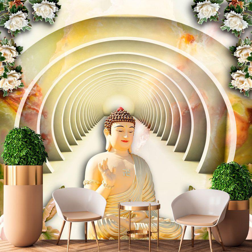Adesivo de Parede 3D Budismo Túnel Painel Fotográfico F326