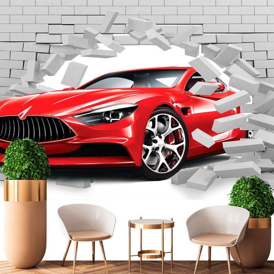 Adesivo de Parede 3D Buraco na Parede Carro Painel Fotográfico F323