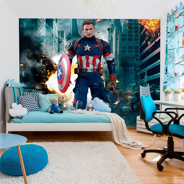 Adesivo de Parede 3D Kids Capitão America Painel Fotográfico F129