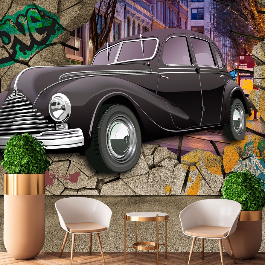 Adesivo de Parede 3D Grafite Arte Vintage Painel Fotográfico F327