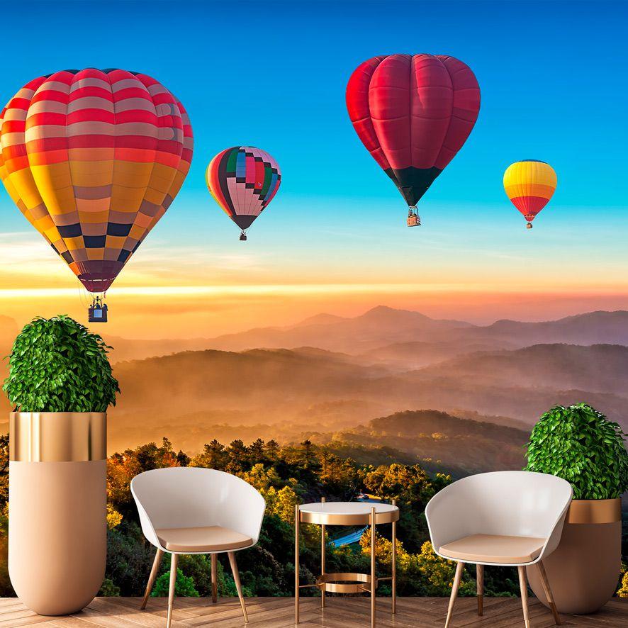 Adesivo Decorativo Paisagem Balões Montanhas F321