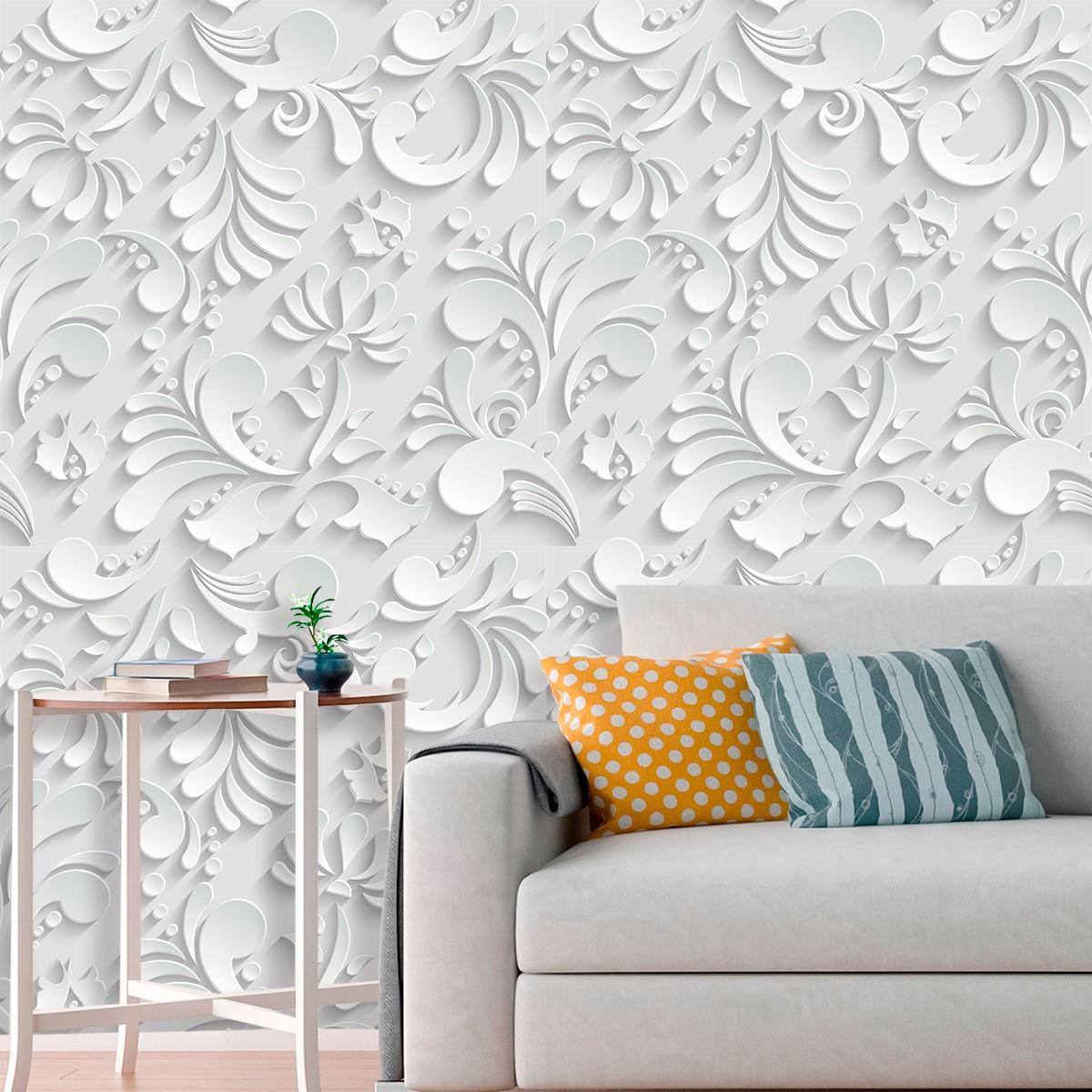Papel de Parede 3D Arabesco Folhas Abstrato Adesivo