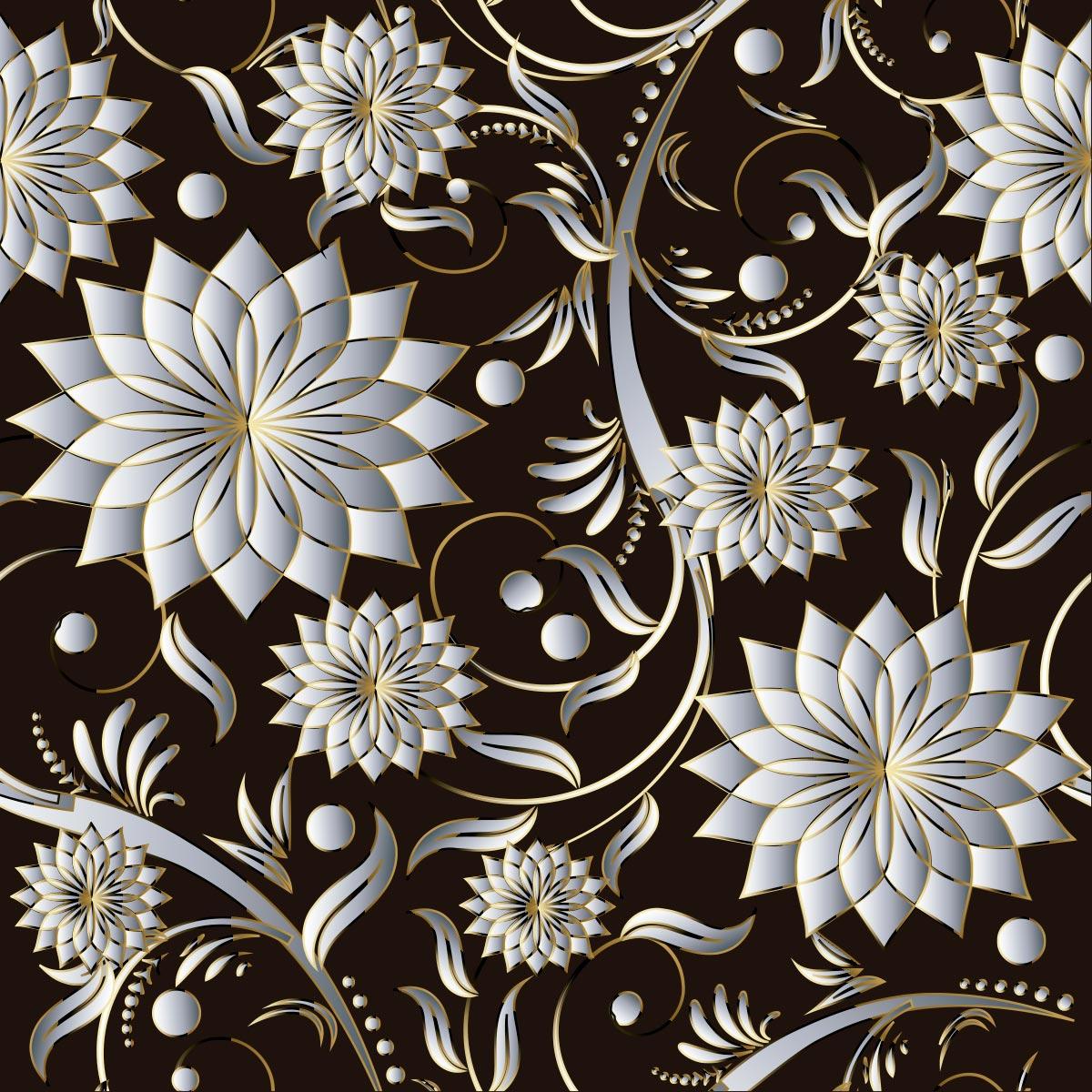 Papel de Parede 3D Floral Prata Galhos Gold Adesivo