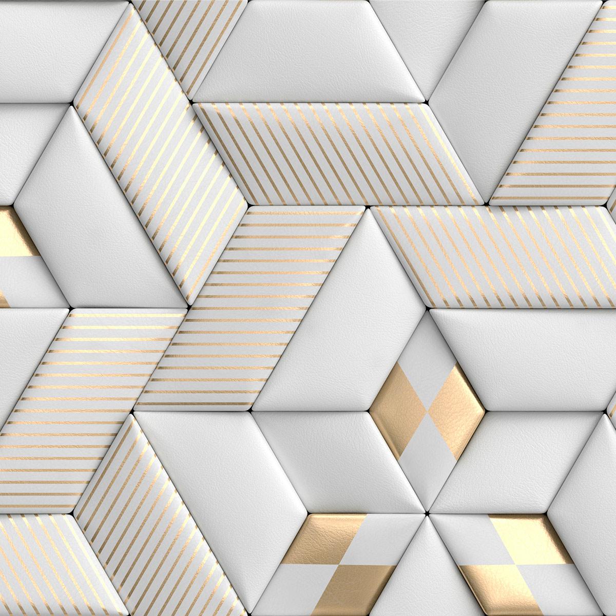 Papel de Parede 3D Geométrico Efeito Couro Gold Adesivo