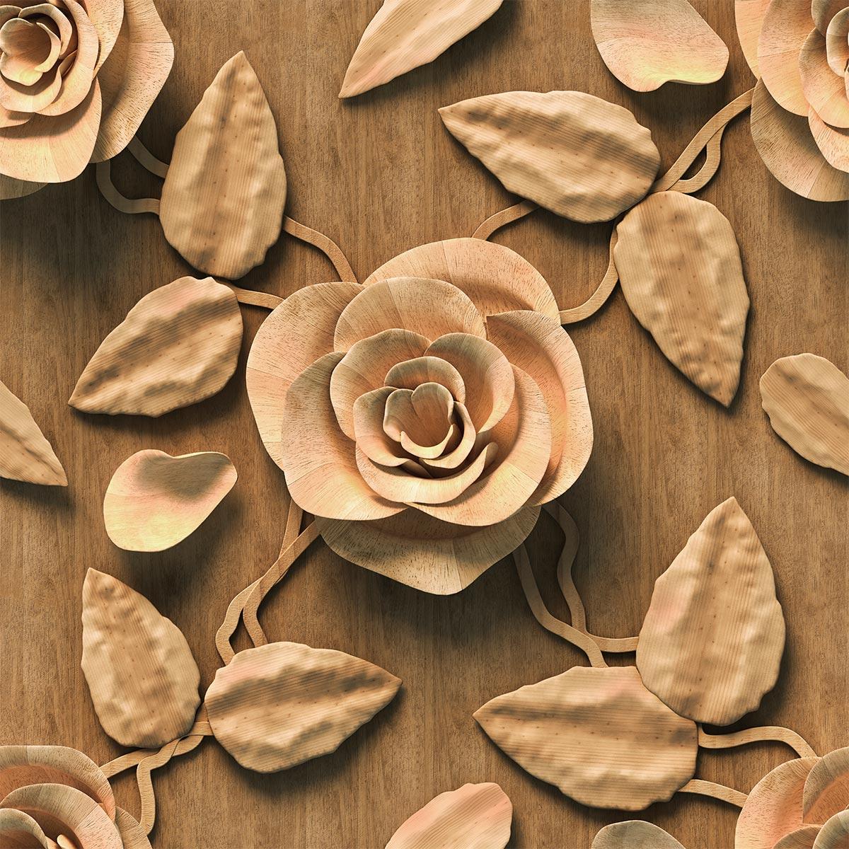 Papel de Parede 3D Madeira Folhas Floral Adesivo