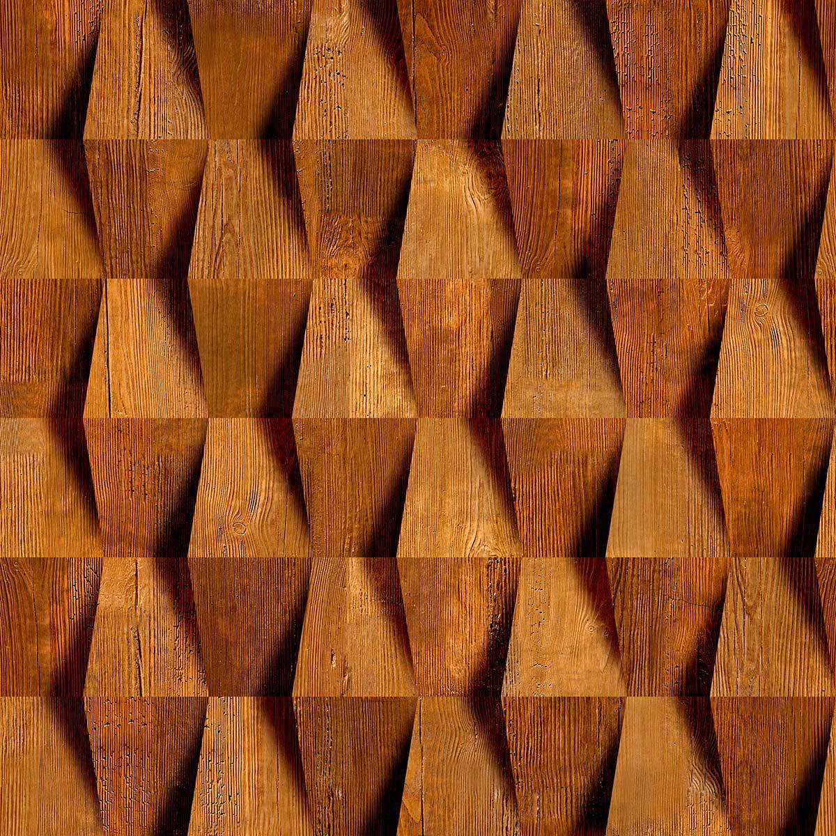 Papel de Parede 3D Madeira Geométrico Zig Zag Mogno Adesivo