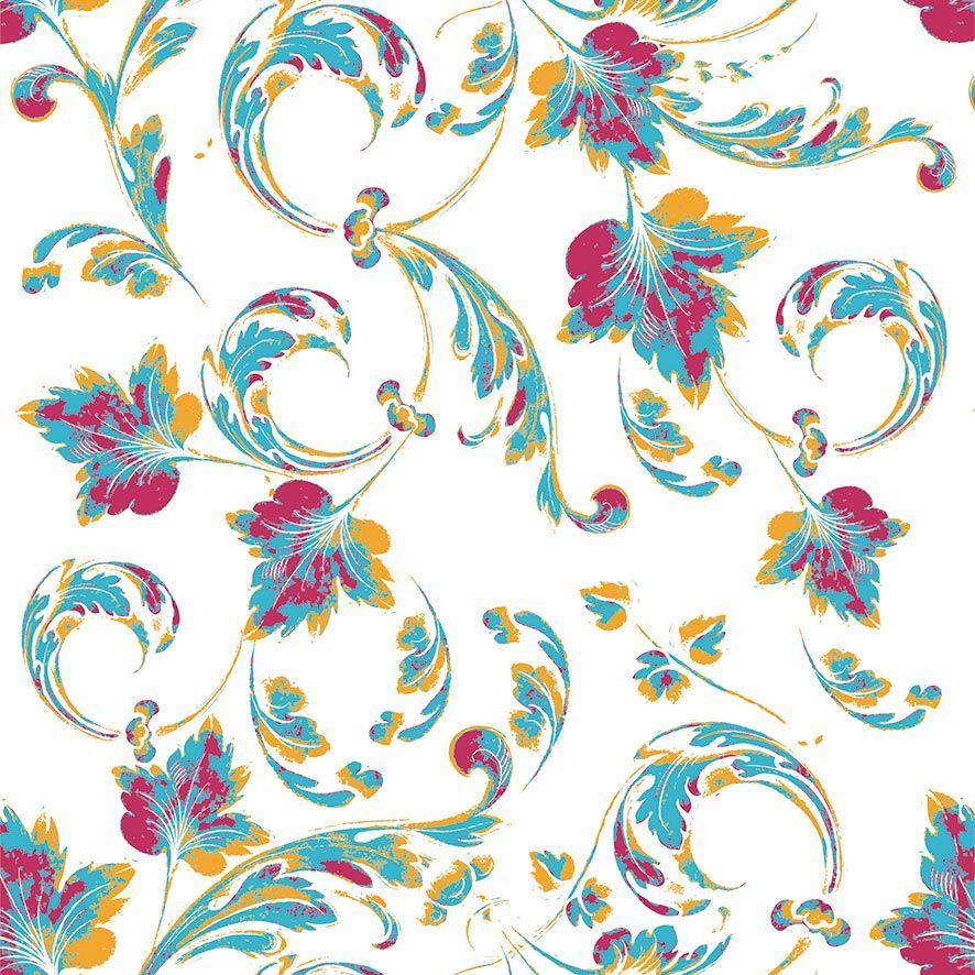 Papel de Parede Abstrato Floral Tribal Folhas Adesivo P869