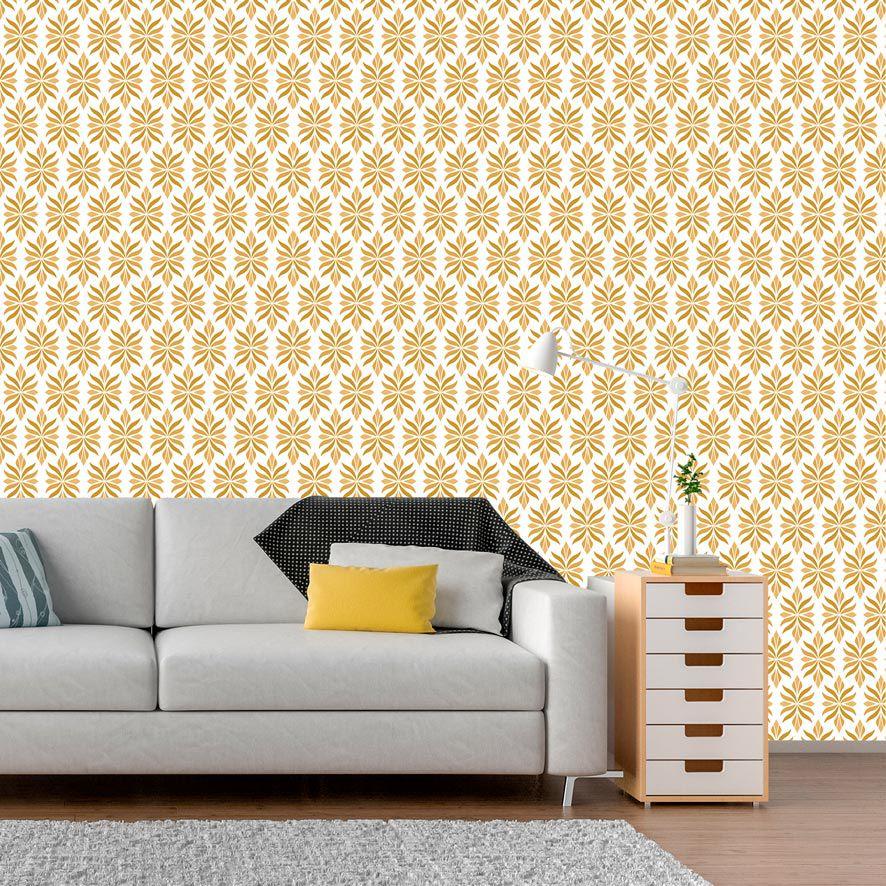 Papel de Parede Adesivo Abstrato Amarelo P611