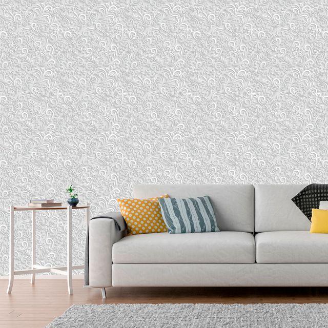 Papel de Parede Adesivo Arabesco 3D Branco P018B