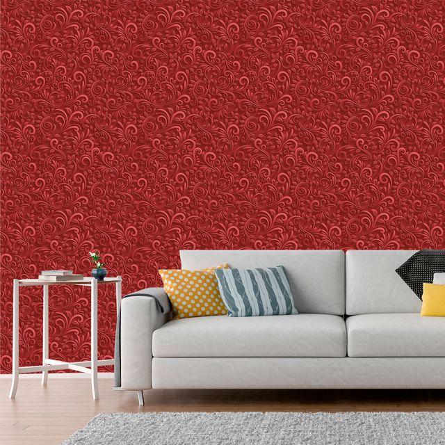 Papel de Parede Adesivo Arabesco 3D Vermelho P018V