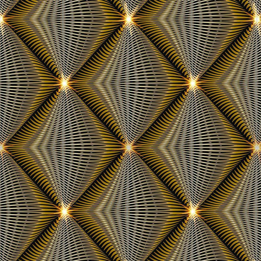 Papel de Parede 3D Triângulos Linhas Gold Adesivo P802