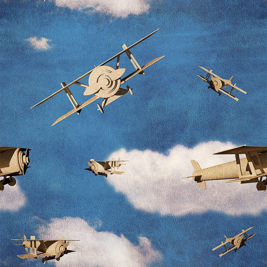 Papel de Parede Avião Vintage Nuvens Retrô Adesivo P653