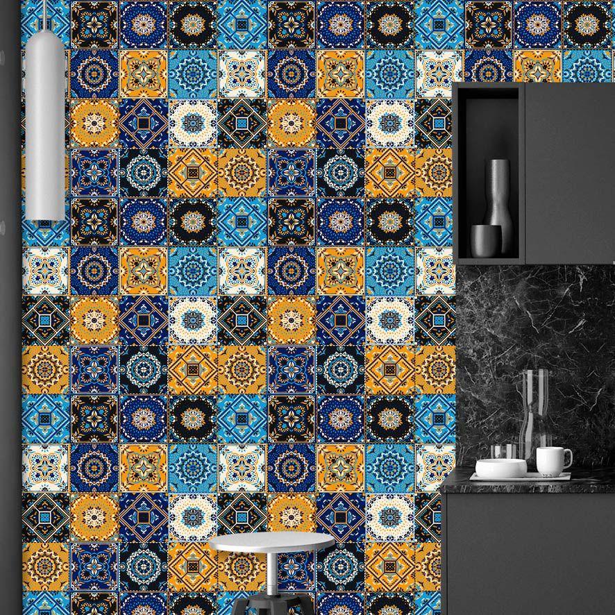 Papel de Parede Azulejo Dubai Colorido Adesivo P745