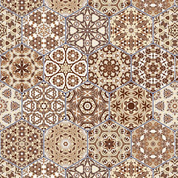Papel de Parede Azulejo Marroquino Geométrico Adesivo P209