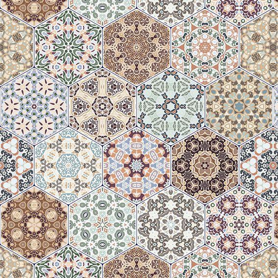 Papel de Parede Azulejo Marroquino Geométrico Adesivo P211