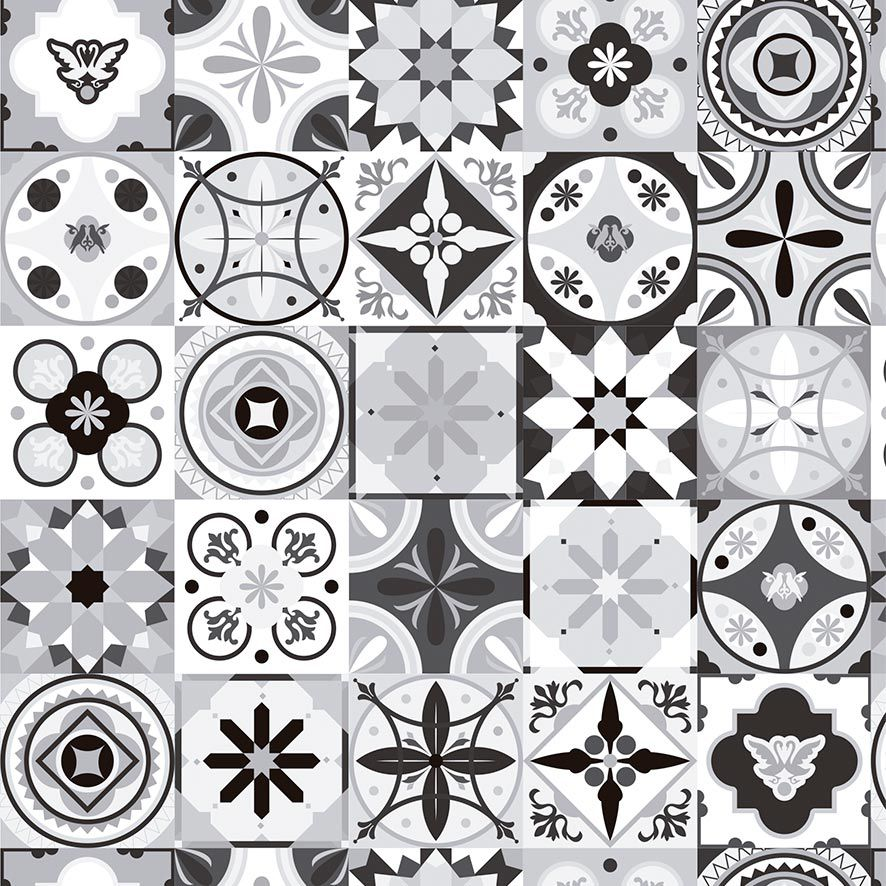 Papel de Parede Azulejo Grego Diversos Tons Adesivo P742