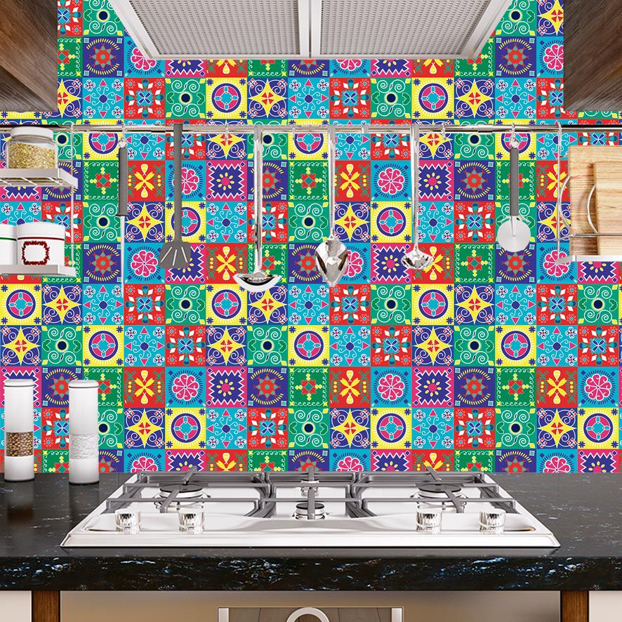 Papel de Parede Adesivo Azulejo Mexicano Colorido P662