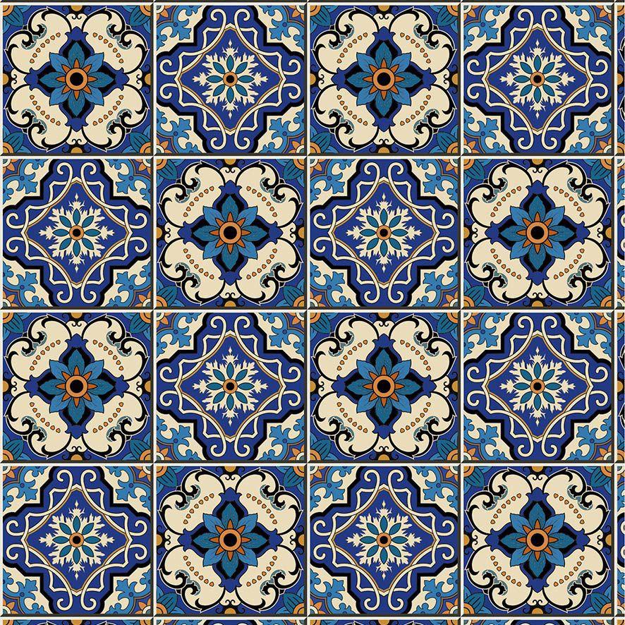 Papel de Parede Azulejo Grego Floral Adesivo P552