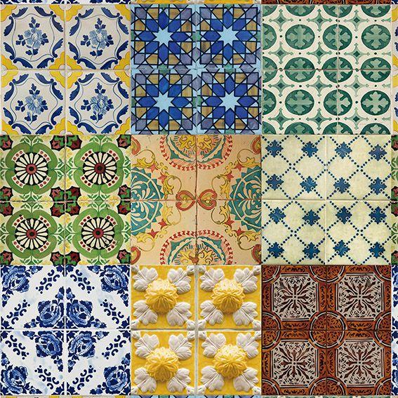 Papel de Parede Azulejo Grego Rústico Vintage Adesivo P146