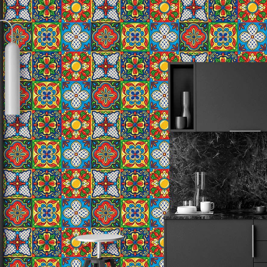 Papel de Parede Azulejo Vintage Colorido Adesivo P739