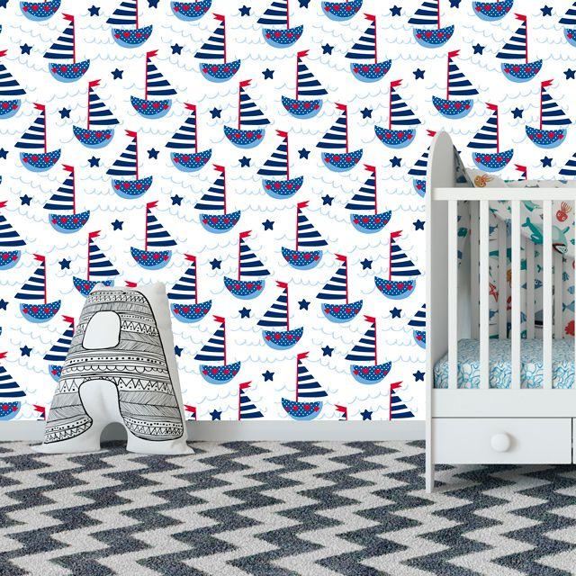 Papel de Parede Barquinhos Veleiro Estrelas Bebê Adesivo P366