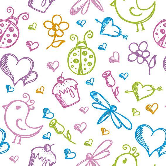 Papel de Parede Desenhos Joaninha Flor Love Cupcake Adesivo P016