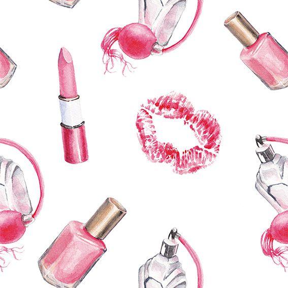 Papel de Parede Beleza Perfumes Batom Esmaltes Adesivo P482
