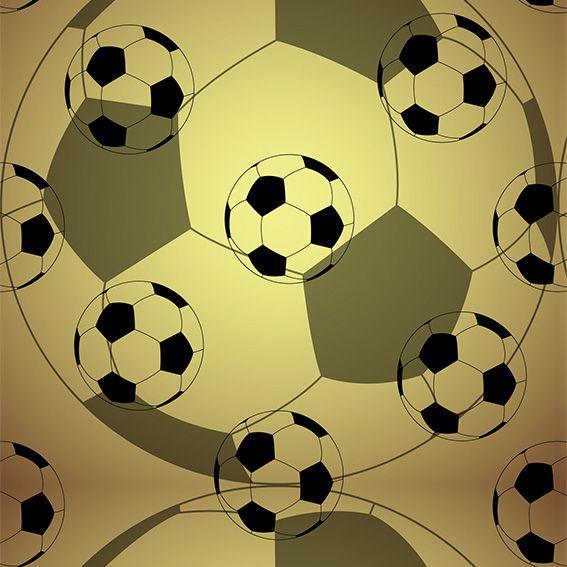 Papel de Parede Bolas Dourada Futebol Adesivo P490
