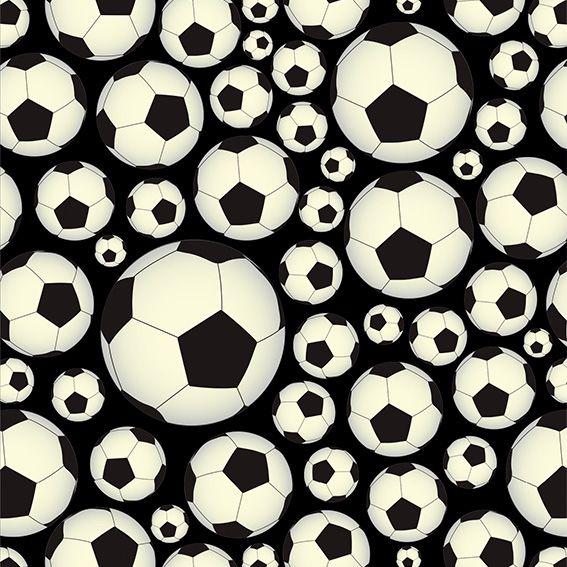 Papel de Parede Bolas Preto Futebol Adesivo P491
