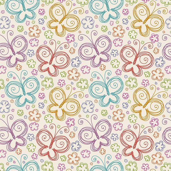 Papel de Parede Borboletas Florzinhas Colorida Adesivo P035